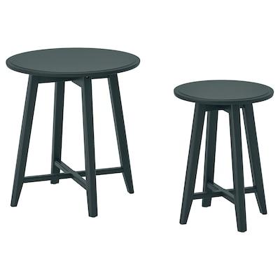 KRAGSTA طاولات متداخلة، طقم من 2., أزرق-أخضر غامق
