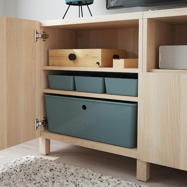 KUGGIS Storage box with lid, turquoise, 18x26x8 cm
