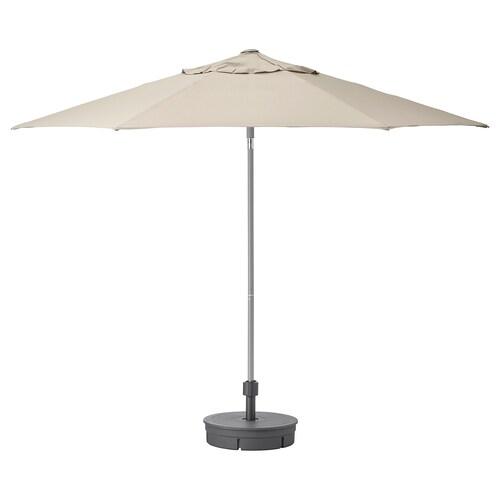 KUGGÖ / LINDÖJA parasol with base beige/Grytö dark grey 200 g/m² 246 cm 300 cm