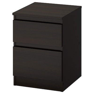KULLEN Chest of 2 drawers, black-brown, 35x49 cm