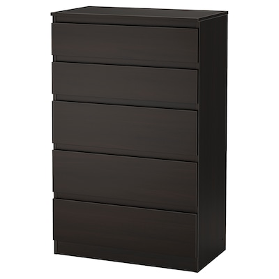 KULLEN Chest of 5 drawers, black-brown, 70x112 cm