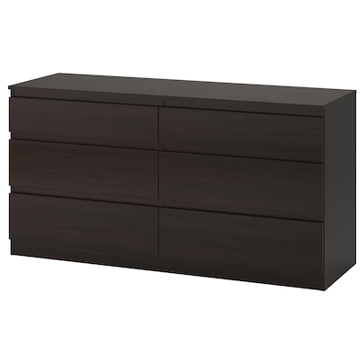 KULLEN Chest of 6 drawers, black-brown, 140x72 cm
