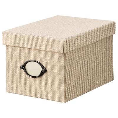 KVARNVIK Storage box with lid, beige, 18x25x15 cm
