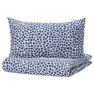 KVASTFIBBLA غطاء لحاف و غطاء مخدة, أبيض/أزرق غامق, 150x200/50x80 سم