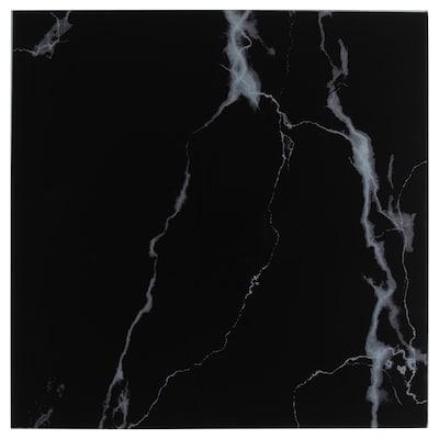 LACK Glass top, marble effect/black, 55x55 cm