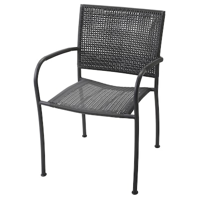 LÄCKÖ Chair with armrests, outdoor, grey