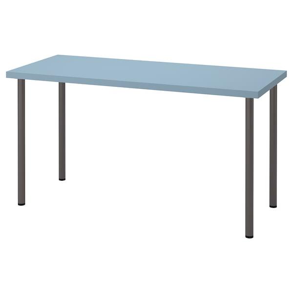 LAGKAPTEN / ADILS Desk, light blue/dark grey, 140x60 cm