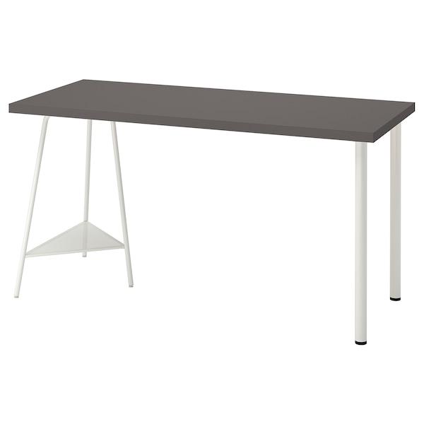 LAGKAPTEN / TILLSLAG Desk, dark grey/white, 140x60 cm