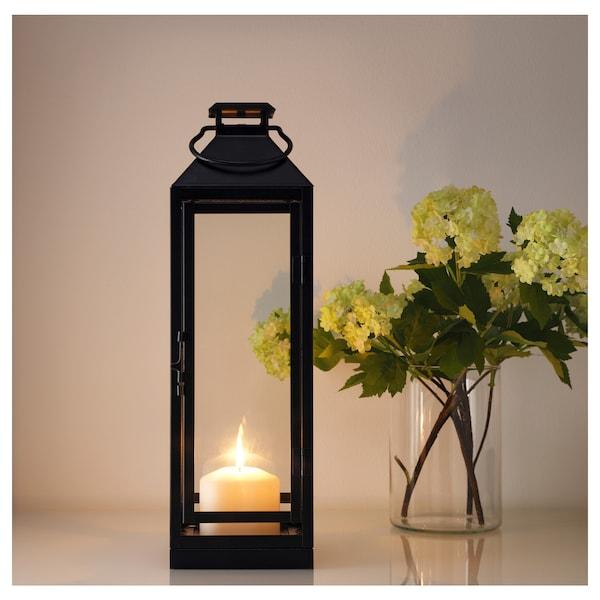 LAGRAD Lantern f block candle, in/outdoor, black, 43 cm