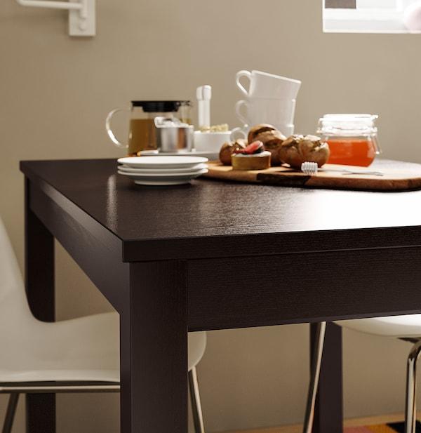 LANEBERG طاولة قابلة للتمديد, بني, 130/190x80 سم