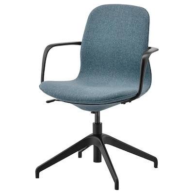 LÅNGFJÄLL كرسي اجتماعات بمساند ذراعين, Gunnared أزرق/أسود