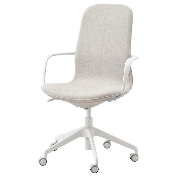 LÅNGFJÄLL كرسي مكتب بمساند ذراعين, Gunnared بيج/أبيض