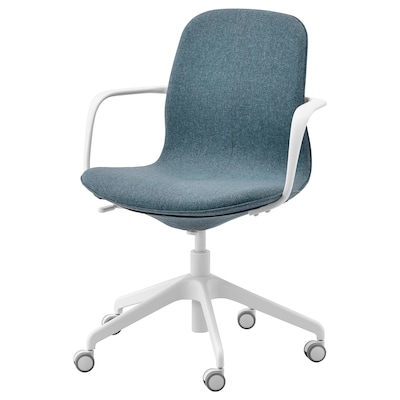 LÅNGFJÄLL كرسي مكتب بمساند ذراعين, Gunnared أزرق/أبيض