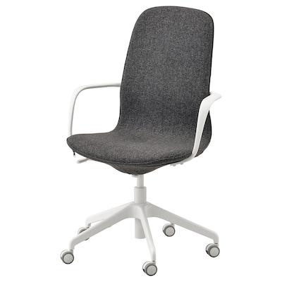 LÅNGFJÄLL كرسي مكتب بمساند ذراعين, Gunnared رمادي غامق/أبيض