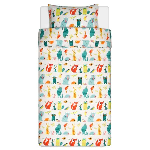 LATTJO غطاء لحاف و غطاء مخدة, حيوان/عدة ألوان, 150x200/50x80 سم
