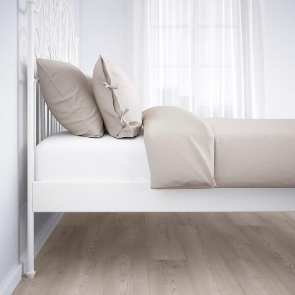 LEIRVIK Bed frame, white/Leirsund, 140x200 cm