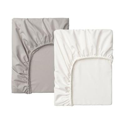 LENAST شرشف بمطاط لمهد, أبيض/رمادي, 60x120 سم