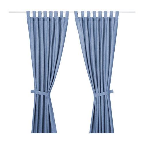 LENDA ستائر مع رباط جانبي، زوج ستائر IKEA تخفض الستائر مستوى الضوء العام وتوفر الخصوصية من خلال حجب الرؤية المباشرة عمن هم خارج الغرفة.