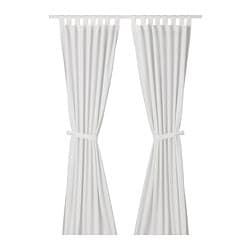 LENDA curtains with tie-backs, 1 pair, white bleached