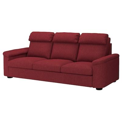 LIDHULT كنبة 3 مقاعد, Lejde أحمر-بني
