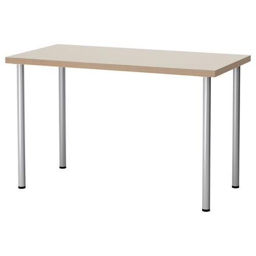 LINNMON / ADILS table beige/silver-colour 120 cm 60 cm 74 cm 50 kg