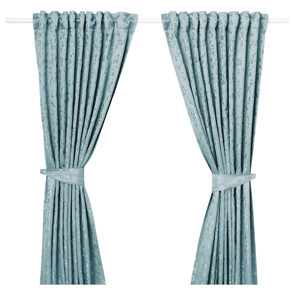 LISABRITT curtains with tie-backs, 1 pair blue 300 cm 145 cm 2.77 kg 4.35 m² 2 pack