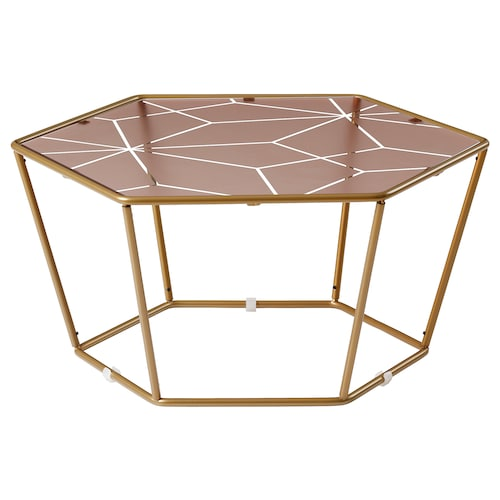 LJUV coffee table hexagonal/gold-colour pink 60 cm 52 cm 28 cm