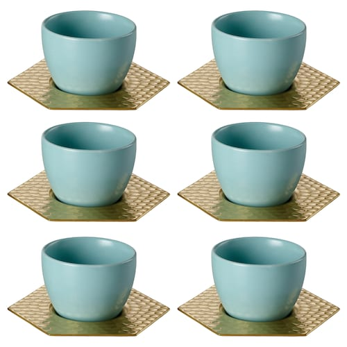 LJUV cup with saucer light turquoise/gold-colour 11 cm 5 cm 5 cm 90 ml 6 pack