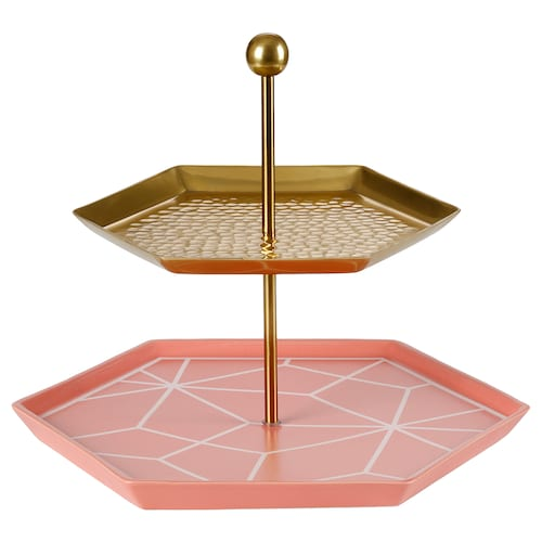 LJUV serving stand, two tiers brass-colour/pink 31 cm 27 cm 25 cm