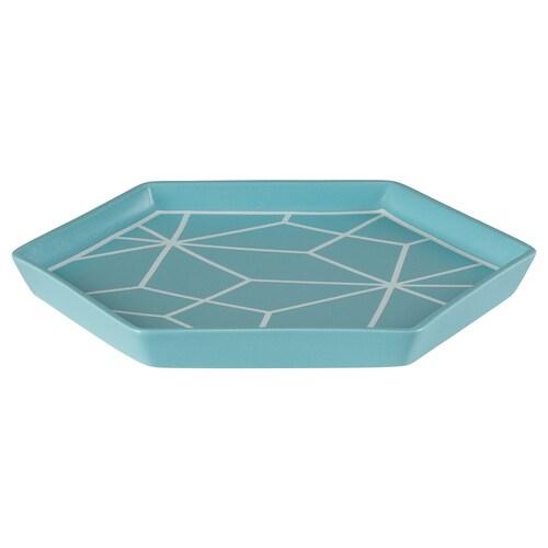 LJUV tray turquoise/white 23 cm 20 cm 2 cm