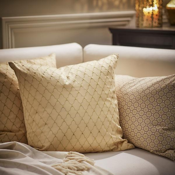 LJUVARE Cushion cover, embroidery beige, 50x50 cm