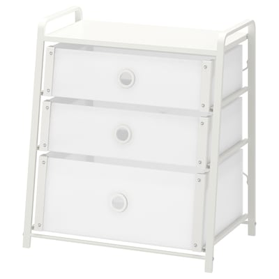LOTE Chest of 3 drawers, white, 55x62 cm