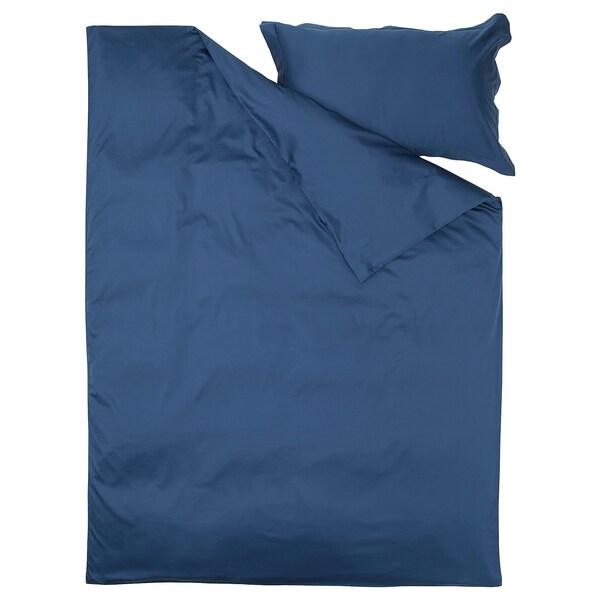 LUKTJASMIN غطاء لحاف و غطاء مخدة, أزرق غامق, 150x200/50x80 سم