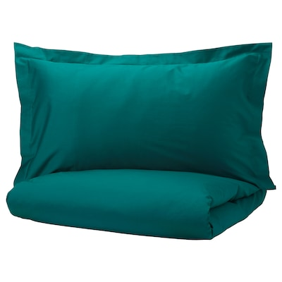 LUKTJASMIN Quilt cover and 2 pillowcases, dark green, 240x220/50x80 cm