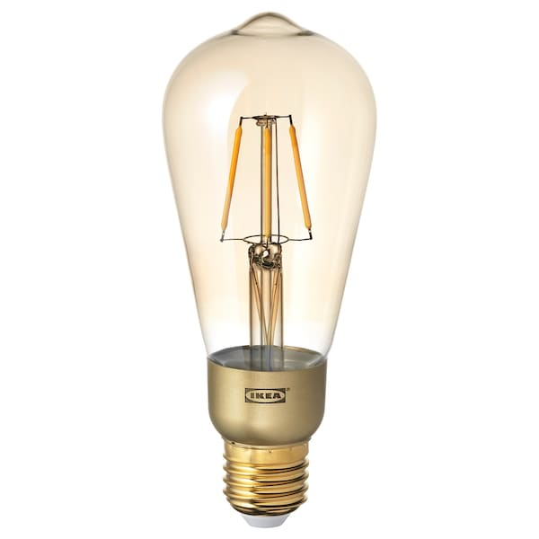 LUNNOM LED bulb E27 400 lumen, dimmable/drop-shaped brown clear glass, 64 mm