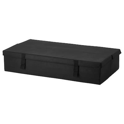 LYCKSELE صندوق تخزين كنبة-سرير بمقعدين, أسود