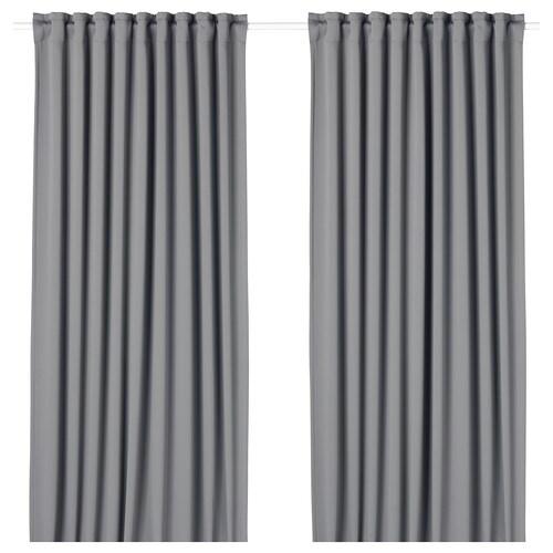 MAJGULL block-out curtains, 1 pair grey 300 cm 145 cm 2.50 kg 4.35 m² 2 pack