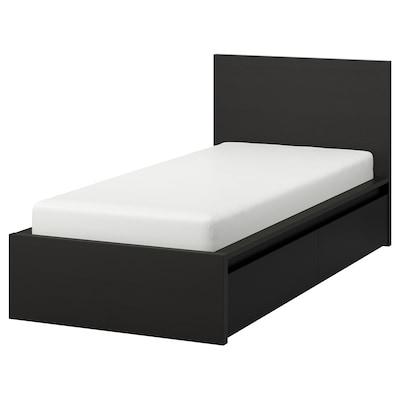 MALM Bed frame, high, w 2 storage boxes, black-brown/Luröy, 90x200 cm