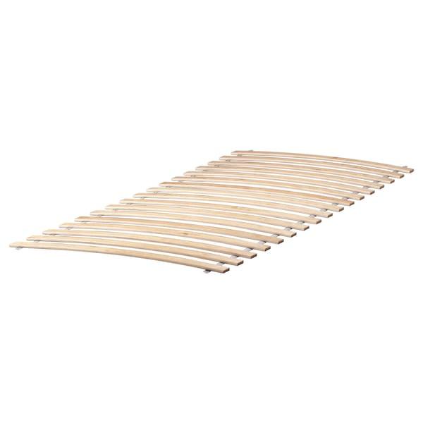 MALM Bed frame, high, w 2 storage boxes, white/Luröy, 90x200 cm