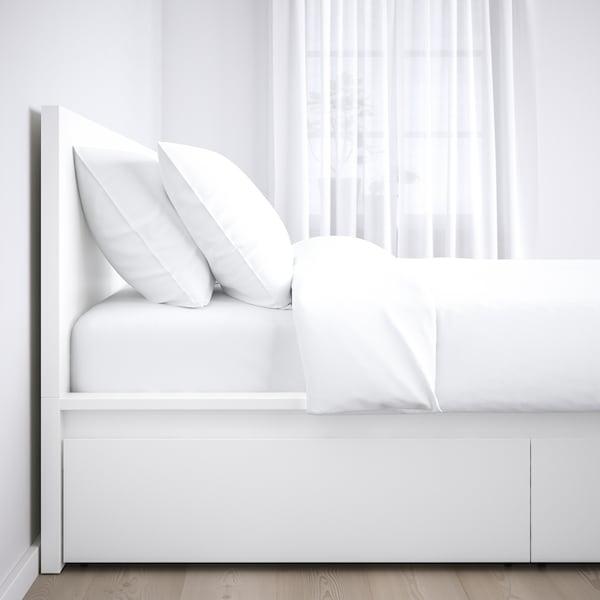 MALM Bed frame, high, w 4 storage boxes, white/Luröy, 140x200 cm