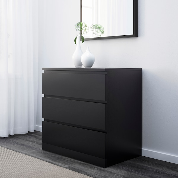 Malm Chest Of 3 Drawers Black Brown