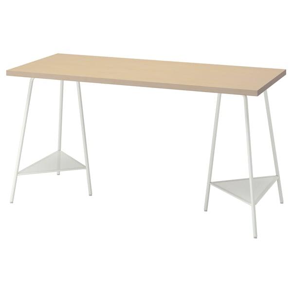 MÅLSKYTT / TILLSLAG Desk, birch/white, 140x60 cm