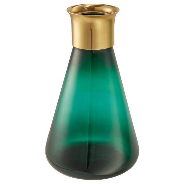 MASKERING Vase, green glass, 21 cm