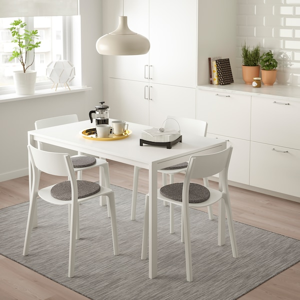 MELLTORP / JANINGE table and 4 chairs white/white 125 cm 75 cm 72 cm