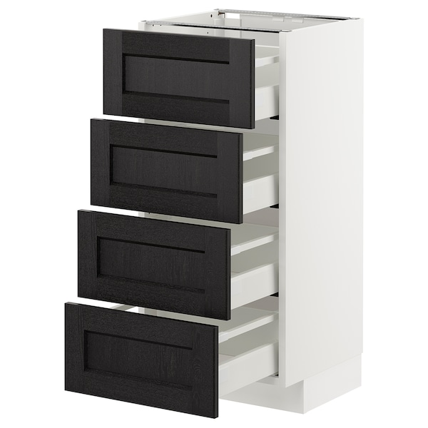 METOD Base cab 4 frnts/4 drawers, white/Lerhyttan black stained, 40x37 cm
