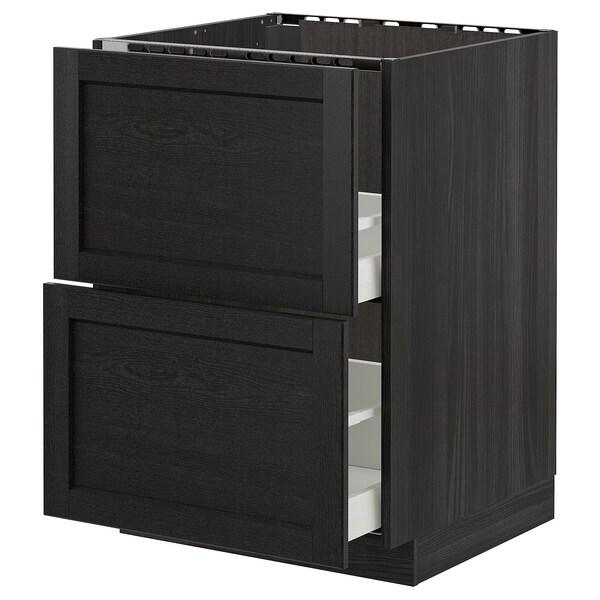 METOD Base cab f sink+2 fronts/2 drawers, black/Lerhyttan black stained, 60x60 cm