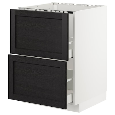 METOD Base cab f sink+2 fronts/2 drawers, white/Lerhyttan black stained, 60x60 cm