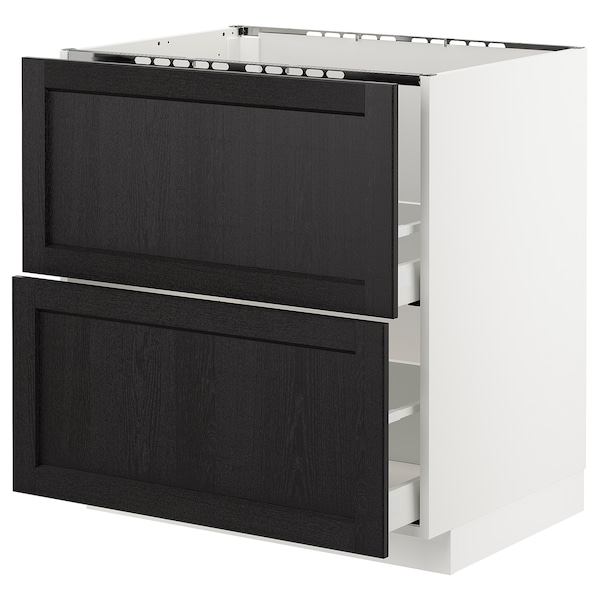 METOD Base cab f sink+2 fronts/2 drawers, white/Lerhyttan black stained, 80x60 cm