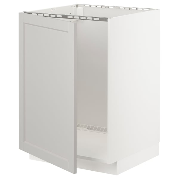 METOD base cabinet for sink white/Lerhyttan light grey 60.0 cm 61.9 cm 88.0 cm 60.0 cm 80.0 cm