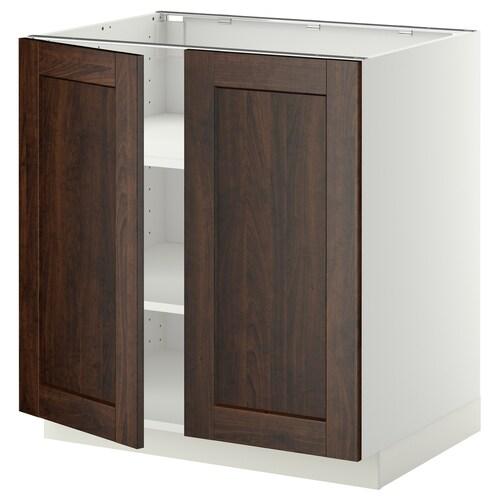 METOD base cabinet with shelves/2 doors white/Edserum brown 80.0 cm 61.8 cm 88.0 cm 60.0 cm 80.0 cm